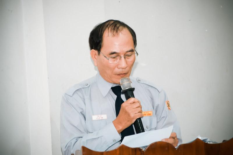 Huynh Trưởng cấp Tâm Lập Lê Hà Thọ, phó thư ký PBGĐPTTW đọc báo cáo tổng kết Phật sự năm 2016